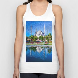 Blue mosque mandala Unisex Tank Top