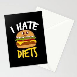 Hate Diets Grilled Patty Hamburger Cafe Stationery Cards