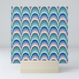 Flame stitch scallops teal blue Mini Art Print