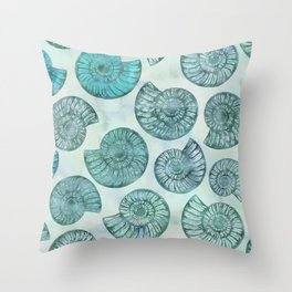 Shimmering Underwater Shell Scenery Aqua Colors Throw Pillow