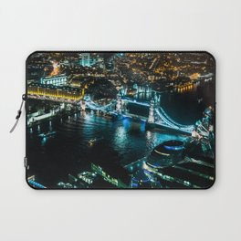 Aerial view of Tower Bridge at Night Laptop Sleeve