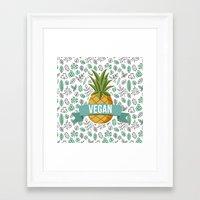 vegan Framed Art Prints featuring Vegan by akaink