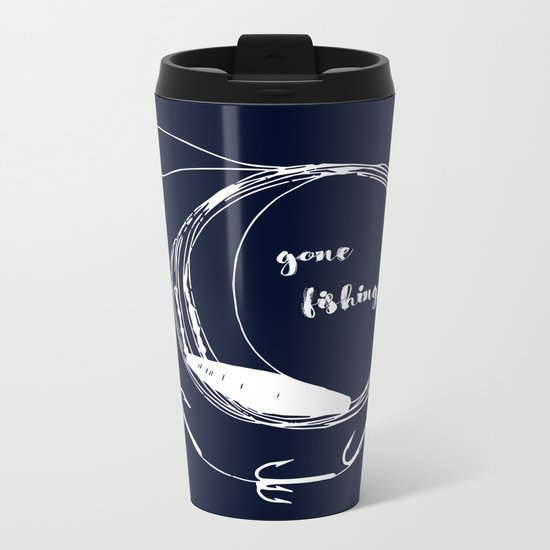 Gone fishing- illustration on marine blue Metal Travel Mug