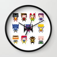 x men Wall Clocks featuring Pixel X-Men by PixelPower