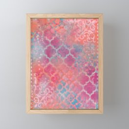 Layered Patterns - Pink, Coral & Turquoise Framed Mini Art Print