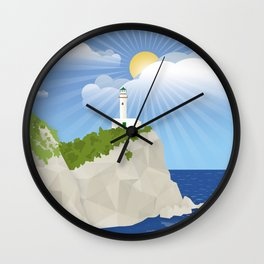 Lighthouse at Cape Ducato, Lefkada (GR) Wall Clock