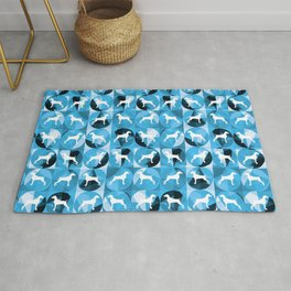 RETRO BLUE AND WHITE WEIMARANER CIRCLES Rug