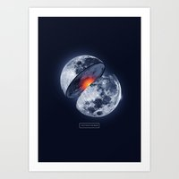 the moon Art Prints featuring Moon by Steven Toang