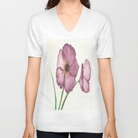 burgundy V-neck T-shirts featuring Burgundy Poppies by trabie