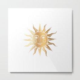 Golden Sun Face Border Metal Print