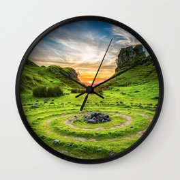 Green nature circle Wall Clock