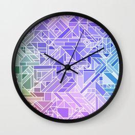 Cool Gradient (Violet Purple Blue Green) Geometric Pattern Print Design Wall Clock