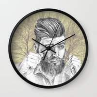 beard Wall Clocks featuring beard by mirart