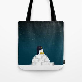 Star gazing - Penguin's dream of flying Tote Bag