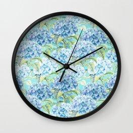 Blue floral hydrangea flower flowers Vintage watercolor pattern Wall Clock