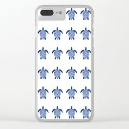 Sea Turtle Pattern in Indigo Clear iPhone Case