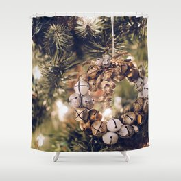 Jingle Bell Wreath on Christmas Tree (Color) Shower Curtain