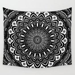 Bold Mandala Black and White Simple Minimal Minimalistic Wall Tapestry