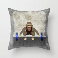Sock Monkey Bodybuilder Throw Pillow
