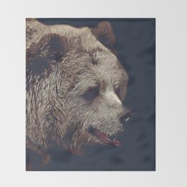 kodiak brown bear vector art dark Throw Blanket