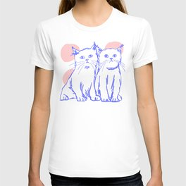 Katzen 002 / Minimal Line Drawing Of Two Cats T-shirt