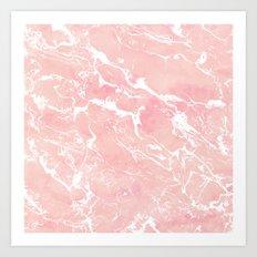 Modern pastel blush pink watercolor marble pattern Art Print
