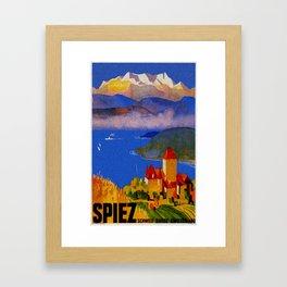 Vintage Spiez Switzerland Travel Poster Framed Art Print