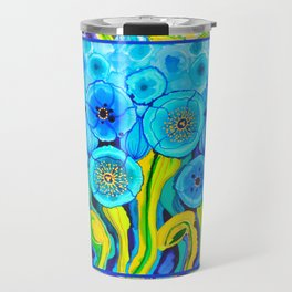 Field of Poppies with Border All Around Belize Travel Mug