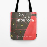 hemingway Tote Bags featuring Death in the Afternoon, Erenst Hemingway - Book Cover by Stefanoreves