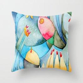 Bosque en azul Throw Pillow