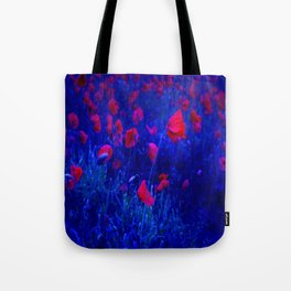 Red in Blue Tote Bag