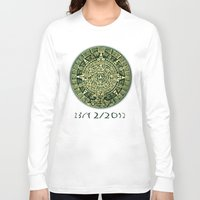 calendar Long Sleeve T-shirts featuring Mayan Calendar 2012 by Bob Pestana
