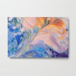 Pastel artistic blue and peach color splash Metal Print