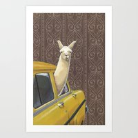 write Art Prints featuring Taxi Llama by Jason Ratliff