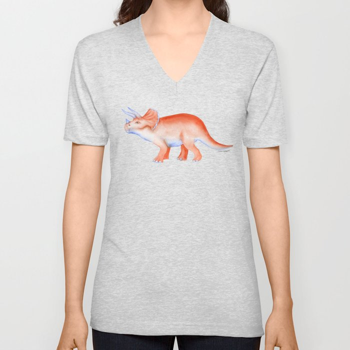 Triceratops Dinosaur Watercolor Painting Unisex V-Neck