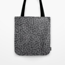 Black and faux silver swirls doodles Tote Bag