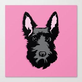 Black Scottie Dog on Pink Background Canvas Print