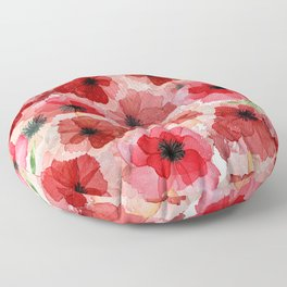 Pressed Poppy Blossom Pattern Floor Pillow
