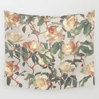 bedding Wall Tapestries featuring Soft Vintage Rose Pattern by micklyn