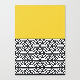 Black, White and Yellow Geo Canvas Print