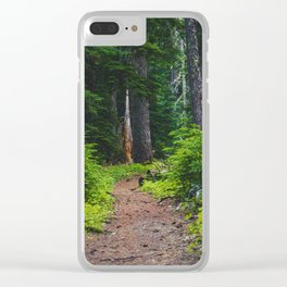 Green Forest Path (Color) Clear iPhone Case