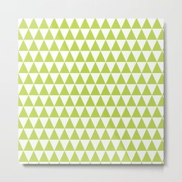 Grass Green and White Triangle Pattern Metal Print