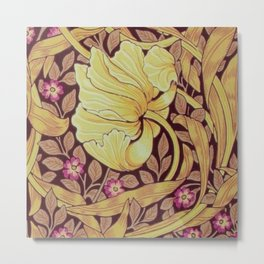 William Morris Yellow Orchids and Violets Textile Pattern Metal Print