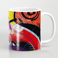 kandinsky Mugs featuring I Feel Fine - Whirly Swirls Splashy Aqua Turquoise Blue Red Yellow  Fine Art Abstract Painting by Mark Compton