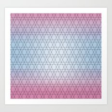 Blue diamond Design with Pink shades. Worldwide Shipping Art Print