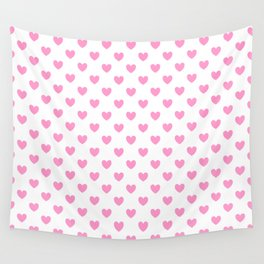 Pink Hearts on White Wall Tapestry