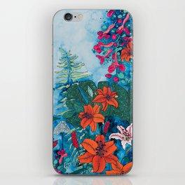Blue Jungle of Orange Lily and Pink Trumpet Vine Floral iPhone Skin