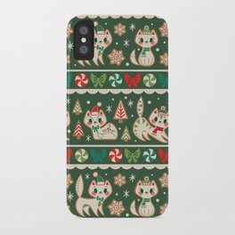 Striped Gingerbread Kitties (Green) iPhone Case