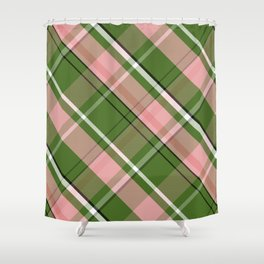 Pink and Green Preppy Plaid Shower Curtain