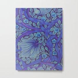 William Morris Indigo Forget Me Not Floral Art Nouveau Metal Print